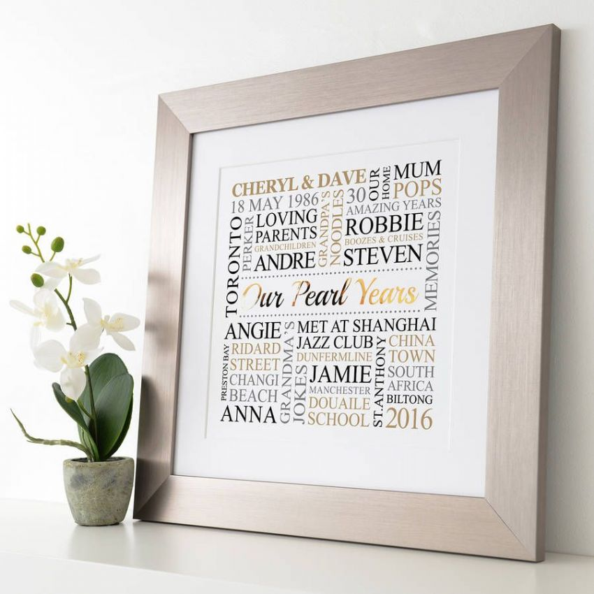Personalised Pearl Anniversary Metallic Word Art